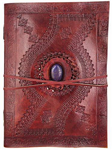 Kooly Zen Notizblock, Tagebuch, Buch, echtes Leder, Vintage, Lapislazuli, Vintage, 18 cm x 25 cm, 240 Seiten, Premiumpapier