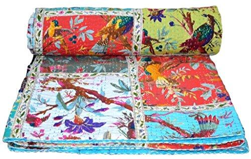 Colcha de algodón Kantha de parche indio, manta de cama de matrimonio (multi pájaros), colcha bohemia, colcha bohemia, colcha kantha hecha a mano, edredón kantha, edredón kantha de tamaño king