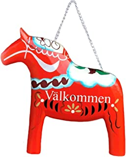 Essence of Europe Gifts E.H.G Red Dala Horse Wood Entryway Door Sign