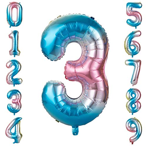 GWHOLE Globos Número 3, Globo Multicolor Mezclado de Azul Amarillo Rosa Globo Grande de Aluminio 1 2 3 4 5 6 7 8 9, Globos para Fiestas de Cumpleaños, Aniversario