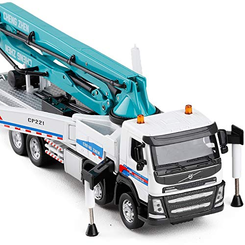 Betonpumpen-Truck, Maßstab 1:50, Akustik-Optik, Metall, Ornamente für Kinder, Kleinkinder, Geburtstagsparty, blau