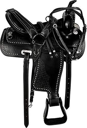 Western Riding Silla de montar de caballo en miniatura para niños jóvenes de cuero Western Barrel Pony tamaño 10' a 12' pulgadas asiento (asiento de 11')