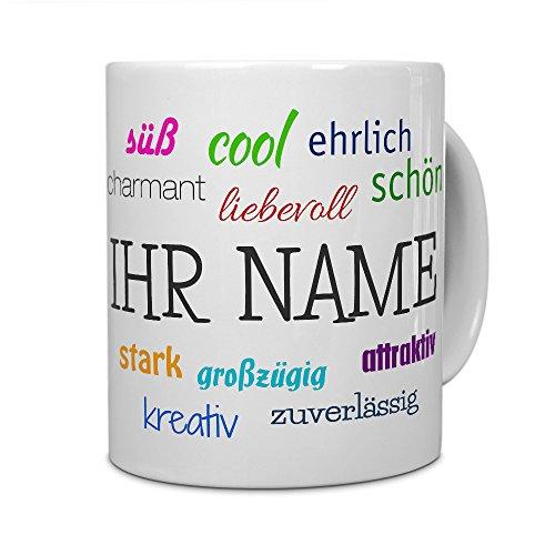 printplanet® Tasse mit Namen personalisiert - Motiv Positive Eigenschaften individuell gestalten - Farbvariante Weiß