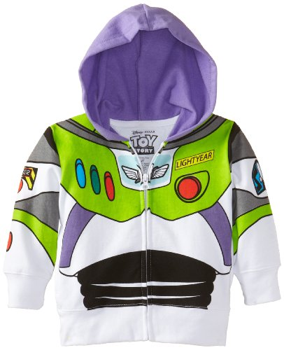 Disney Little Boys' Toddler Buzz Lightyear Hoody Toddler, White, 3T