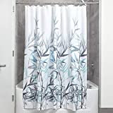 iDesign Anzu Duschvorhang | waschbarer Duschvorhang in 183,0 cm x 183,0 cm | mit floralem Duschvorhang Motiv | Polyester mintgrün/grau