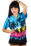 Funky Camisa Blusa Hawaiana, Manga Corta, Beach, Turquesa, M