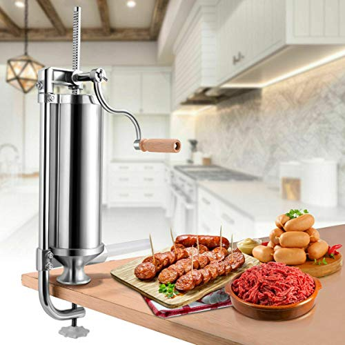 Sausage Stuffer Stainless Steel, Sausage Maker, Stainless Steel Meat Filler (3 L/5 LBS VERTICAL)