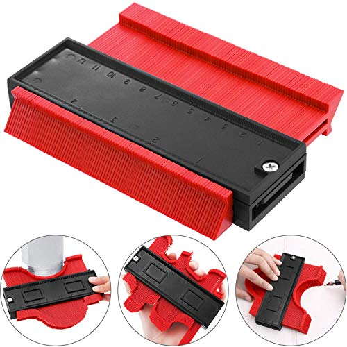 Contour Gauge - Contour Copy Duplicator Plastic Profile Contour Ruled Measure Ruler Tool, Professional General Woodworking Shape Laminate Duplicator (Red)