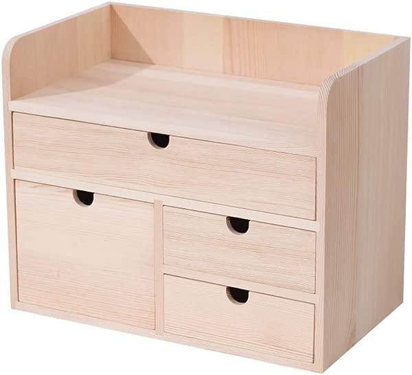WJH Desk Organiser Bookshelf Mini Storage Cabinet Multifunctional Desktop Organizer Retro Design For Bedroom Home Room Office G 35x20x28cm 14x8x11inch