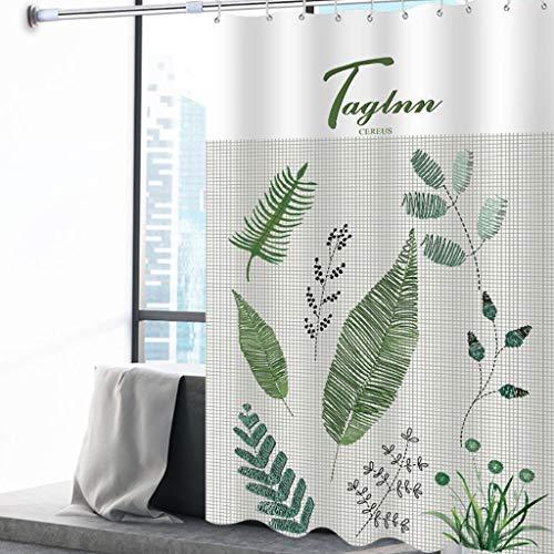 ZHANYI gewatteerd waterdicht douchegordijn, polyester stof schimmelbestendig, groen blad, gewogen hm, roestvrijstalen randen, wasbaar, wit