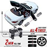 Energizer Portable Air Compressor Tire Inflator, 12V DC Air Pump for Car Tires with Auto Shut Off Function - 120 Max PSI, Preset Pressure Feature, Led Lighting, Digital LCD Display, and Carrying Case