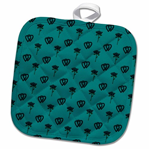 "3D Rose Elegant Letter B in A Round Frame Surrounded by A Floral Pattern All in Teal Green Monotones Pot Holder, 8"" x 8"""