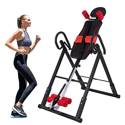 Z ZELUS Tabla de Inversión Plegable para Fitness en Casa Tabla de Inversión Gravitacional de Altura Ajustable 130cm-185cm Banco de Inversión por Gravedad con Respaldo Acolchado (Rojo)