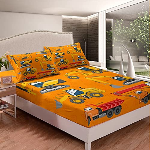 Amacigana Sábana bajera ajustable de 90 x 200 cm para niños, construcción, camión, cama de dibujos animados, grúas, tractores, excavadoras, ropa de cama