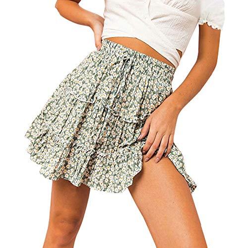 Verano Impreso Boho Sexy Mini Falda Mujer Vendaje Moda Cintura Alta Falda Corta para Mujer Falda Plisada