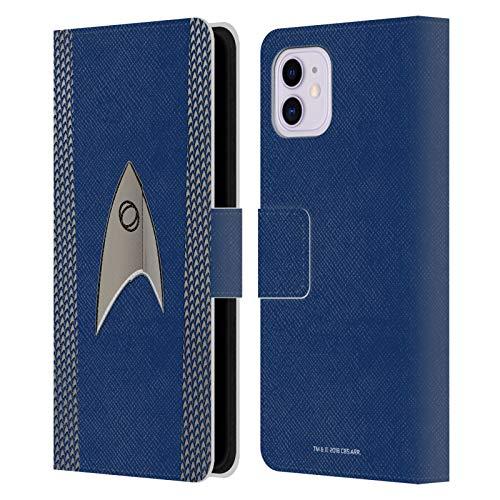 Officiële Star Trek Discovery Wetenschap Uniformen Lederen Book Portemonnee Cover Compatibel voor Apple iPhone 11
