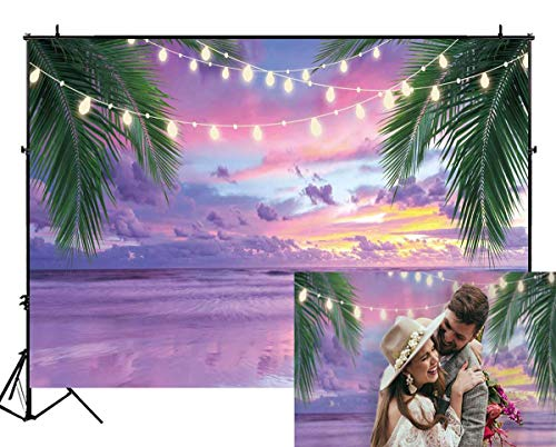 Funnytree 7X5FT Summer Tropical Purple Sea Beach Backdrop Photography Sunset Hawaiian Seaside Ocean Palm Background for Wedding Birthday Party Banner Baby Shower Photo Studio Photobooth Props