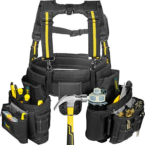 Bravex Tool Belt Suspenders - Pro Ultra Anti-wear 20 Bags Y-Style Tool Belts 5 Combo Apron Tool Pouch For Framers Carpenter Electrician 1200D Ballistic Nylon