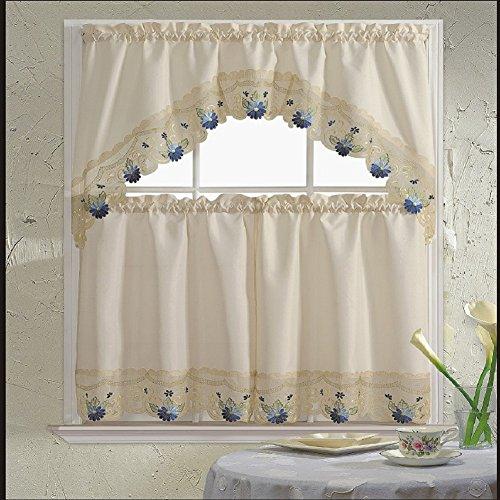 B&H Home Rachel Floral Embroidered 3-Piece Kitchen Curtain Window Treatment (Rachel Blue)