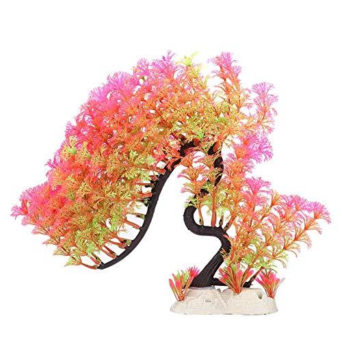 Nannday Decoração de aquário, aquário de plástico artificial, alto simulação de árvore curvada, decoração de aquário (rosa)