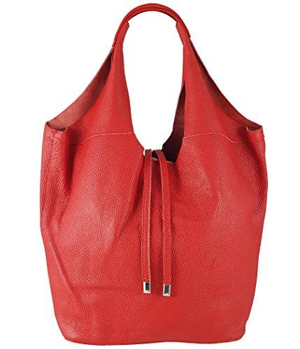 Freyday Echtleder Shopper mit Schmucktasche in vielen Farben Schultertasche Damen Henkeltasche (Rot)