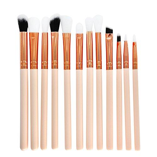 NEEKY Femmes Pinceau de Maquillage Manche Bois 12 Pinceaux de Maquillage Set Professionnel Visage ombre à Paupières Eyeliner Foundation Blush