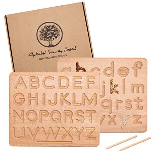 Tablero de rastreo Montessori | Letras mayúsculas y minúsculas de Doble Cara de Madera | Juguete Educativo para el Desarrollo de Habilidades motoras Finas de 10 x 8 x 0,4 Pulgadas
