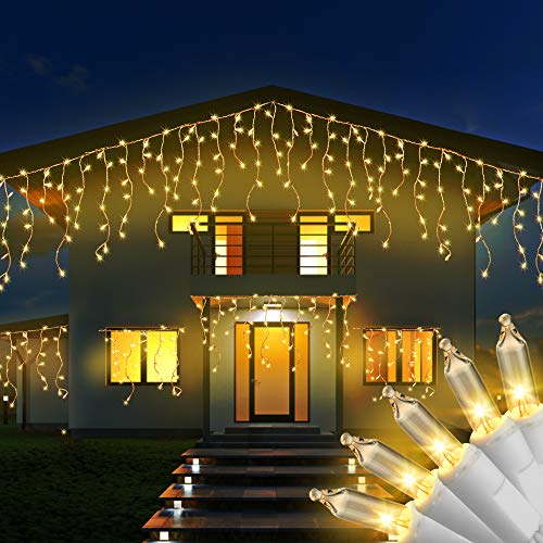 RECESKY 100 Christmas Icicle Lights - 7.7ft Warm White Curtain String Light for Outdoor, Indoor Decor - Clear Mini Bulb Lighting for Bedroom, Window, Home, Garland, Xmas, Wreath, Christmas Decorations