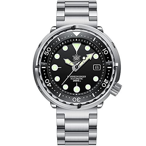 STEELDIVE Relojes de pulsera mecánicos automáticos de acero inoxidable, calendario luminoso 300 m, reloj sumergible para hombre clásico impermeable Negro-3