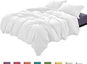 Whitney Home Textile Duvet Cover Queen, 100% Washed Cotton, Bedding Duvet Cover Set, 2-Piece, Ultra Soft and Easy Care, Simple Style Bedding Set (Twin, White)