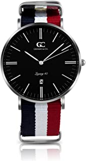 Gelfand & Co. Unisex Minimalist Watch Red/White/Blue NATO Strap Suffolk 40mm Silver with Black Dial