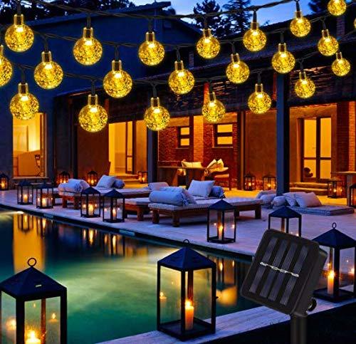 Eqosun® Kristallkugeln Solar Lichterkette +OPTImiertes Panel+ |30 LEDs| Glühbirnen in warmweiß für Außen und Innen