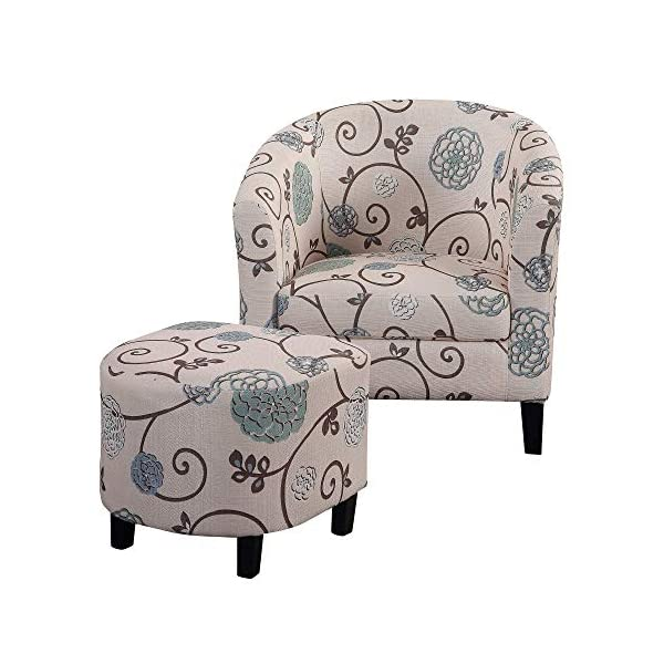 Modern Accent Chair with Ottoman, Club Chair and Footrest Set for Living Room, Bedroom,...