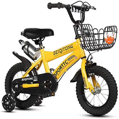 KLMP Bicicletas para Niños, Bicicletas para Niños con Rueditas, 16 Y 18 Pulgadas,Yellow