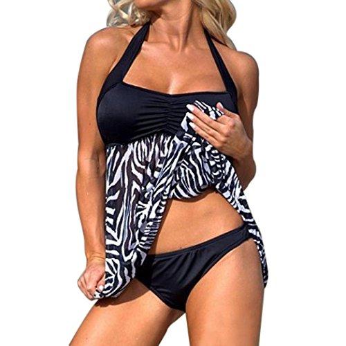 OVERDOSE Plus Size Frauen Push-up Schwimmen Kleid Damen Causal Tankini Sets Zweiteiler Badeanzug Bademode Bikini Sets(A-Black,XL)