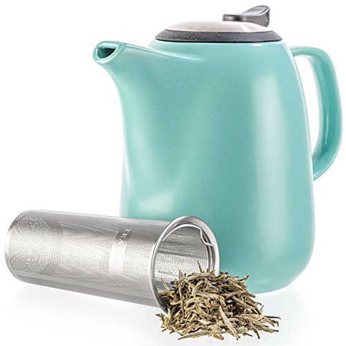 Tealyra  Daze Ceramic Large Teapot Turquoise  47ounce 67 cups  With Stainless Steel Lid ExtraFine Infuser for Loose Leaf Tea  1400ml
