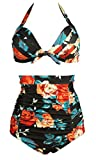 COCOSHIP Retro 50s Black & Colorful Rose Floral Halter High Waist Bikini Carnival Swimwear S(US4)