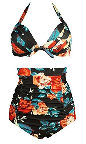 COCOSHIP Retro 50s Black & Colorful Rose Floral Halter High Waist Bikini Carnival Swimwear XXXXL(FBA)