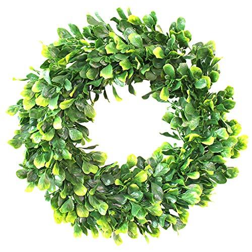 녹색 유칼립투스 잎 화 환 년 라운드 SUJIN 전면 문 화환 세인트 패 트 릭의 인공 봄 여름 녹지 집 웨딩 창 벽 장식 매달려