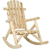 Best Choice Products Indoor Outdoor Wooden Log Rocking Chair Seat Accent Furniture w/Armrests, Fanned Back, and Sloped Seat, Natural