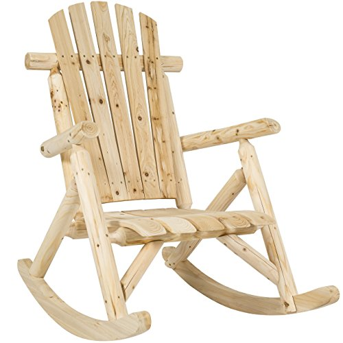 Best Choice Products Wooden Log Rocking Chair Seat for Indoor, Outdoor w/Armrests, Fanned Back, Sloped Seat - Natural