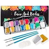 Kinderschminke Set, Coquimbo 16 Schminkfarben Face Paint, 2 Schachteln Glitzer, 3 Berufs Pinsel, 2...