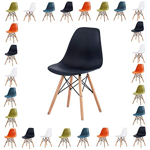 Volitation Chairs Retro Side Dining Office Lounge Chair Plastic Seat with Wood Legs, One Chair (Black)