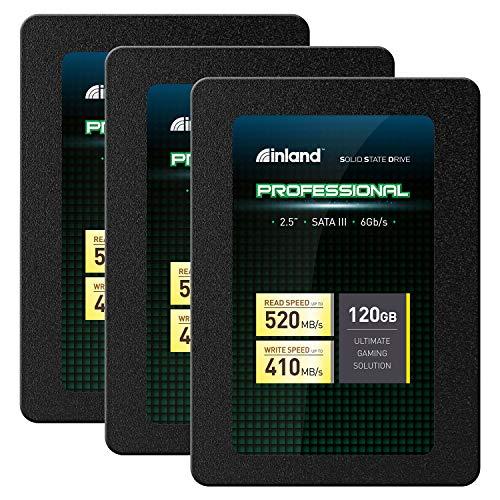 Inland Professional 3 Pack 120GB SSD 3D TLC NAND SATA III 6GB/s 2.5' Internal Solid State Drive (3x120GB)
