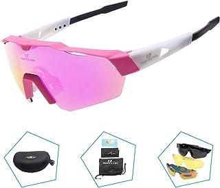 b78db2b9eb Toptotn Gafas de Sol Deportivas Gafas Ciclismo Polarizadas con 3 Lentes  Intercambiables Antivaho Antireflejo Anti Viento