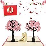 Bohend Boda 3D Tarjetas de felicitacion Surgir Día de San Valentín Tarjetas Cerezo Romántico Invitación de boda Aniversario Tarjetas en blanco por Esposa Familia Amigos