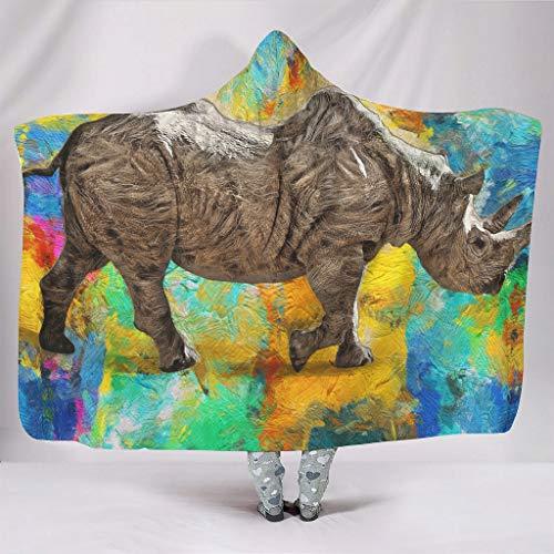 Rhinoceros - Manta con capucha (franela, 150 x 200 cm), color blanco