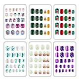 132pcs Fake nails for kids Easy Press on cute unicorn and Xmas artificial nails...