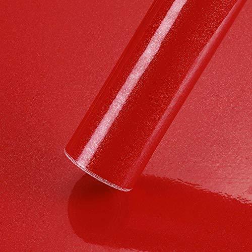 KINLO selbstklebende Folie Küche Rot 60x500cm (3㎡) aus hochwertigem PVC Küchenschränke Küchenfolie Klebefolie Tapeten Küche wasserfest Aufkleber für Schrank Möbelfolie Dekofolie MIT GLITZER