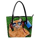 Lorvies - Casco da gatto con occhiali da sole per rilassarsi in erba, borsa a tracolla in pelle PU e borsa a mano